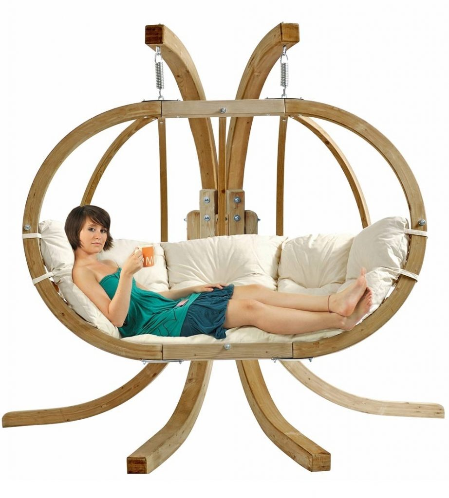 Globo Double Natura - Hanging Chaise Lounger for Two Person Wooden