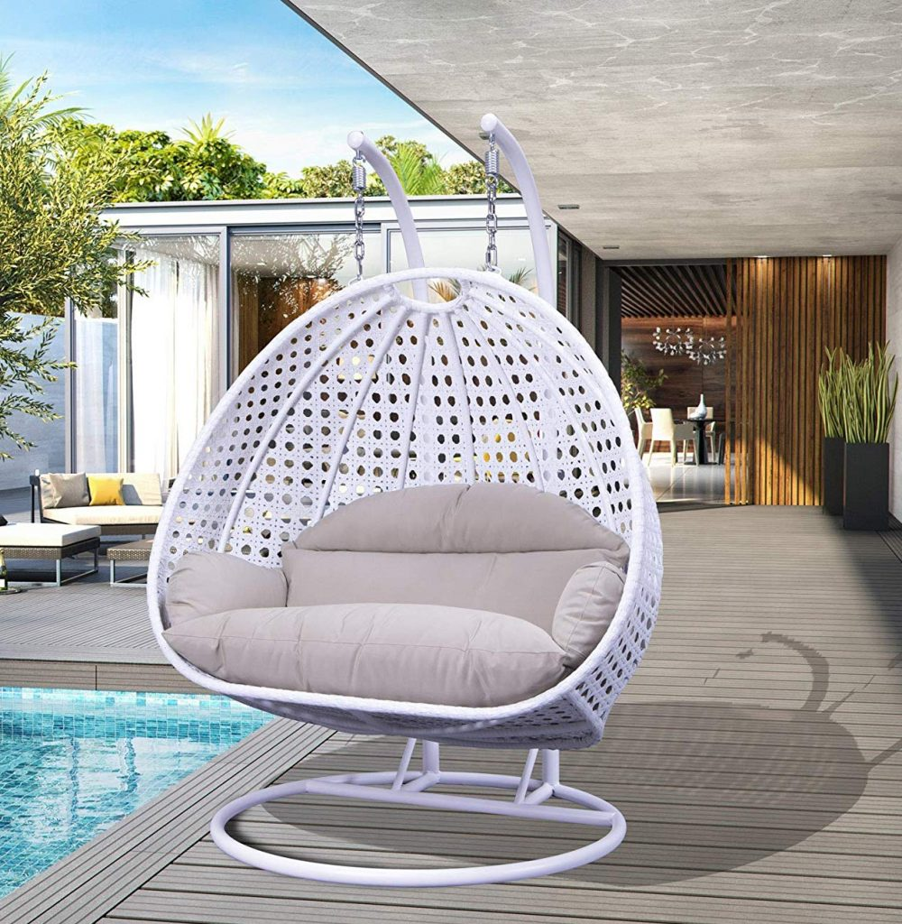 2-person-white-wicker-hanging-chair-hammock-swing-with-stand-on-the-deck or patio