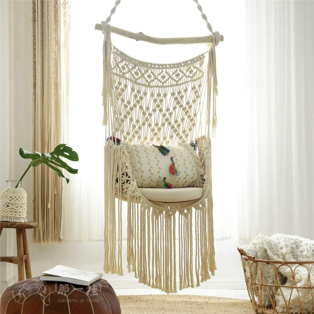Handmade-Bohemian-Hanging-Macrame-Swing-Chair-Uniquely-Designed-Creme-Macrame-Beige-Cotton-Rope-With-Frangels