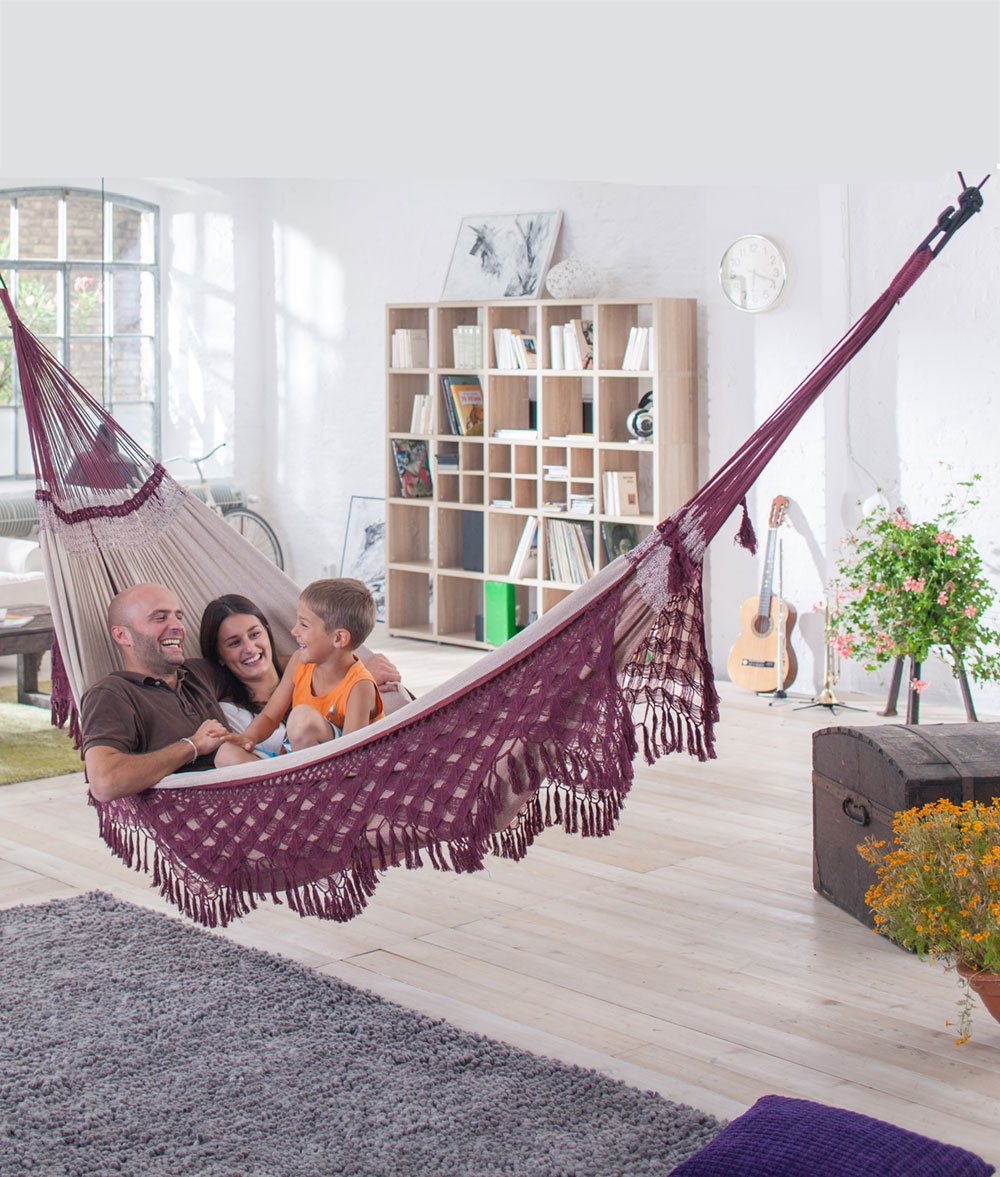 Organic-Cotton-Kingsize-Family-Classic-Hammock-with-Mount-Black-Multipurpose-Suspension
