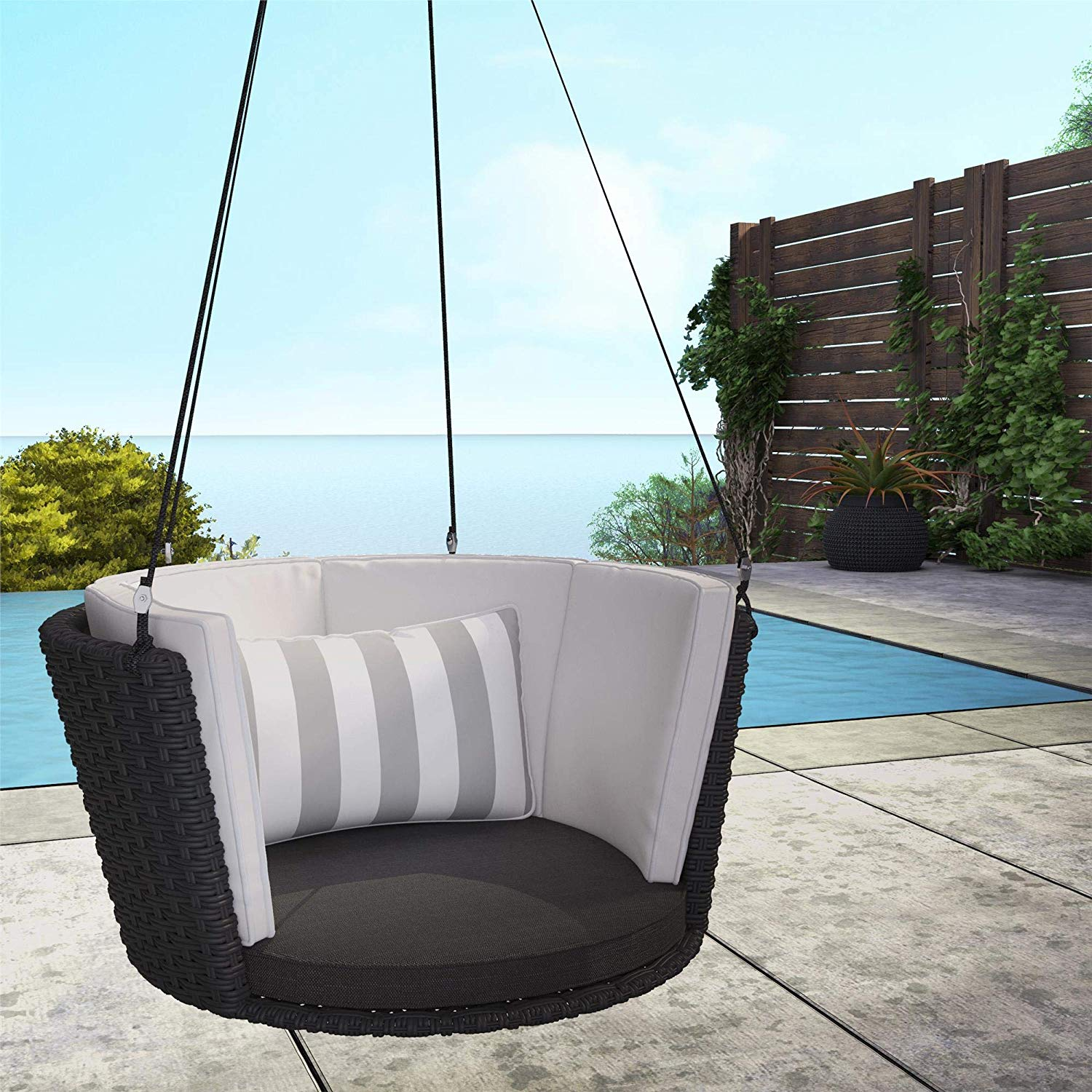 one-person-wicker-porch-swing-black-wicker-round-design-with-ropes