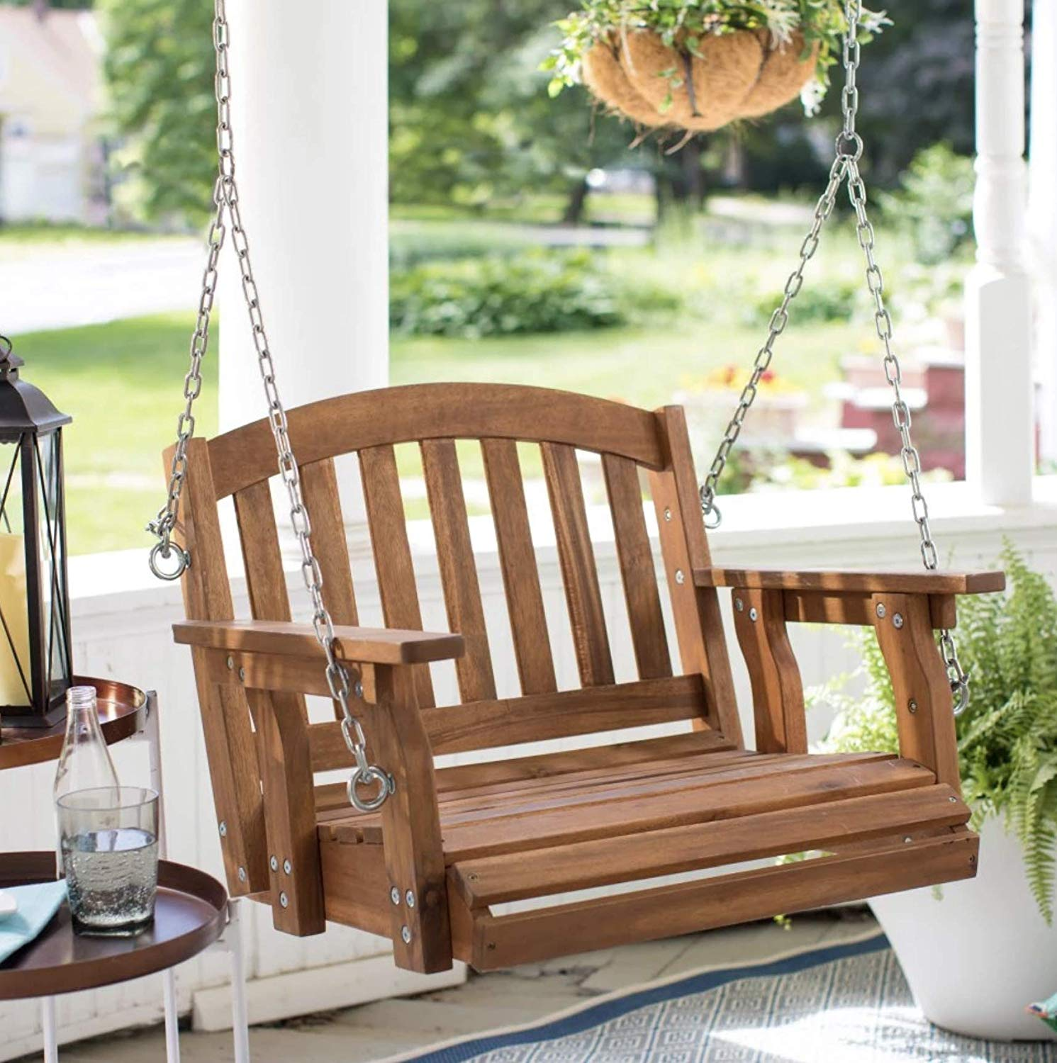 single wooden swing seat