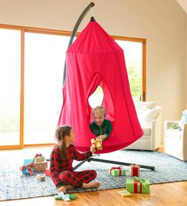 hanging-tent-for-kids-with-stand-in-red-indoors