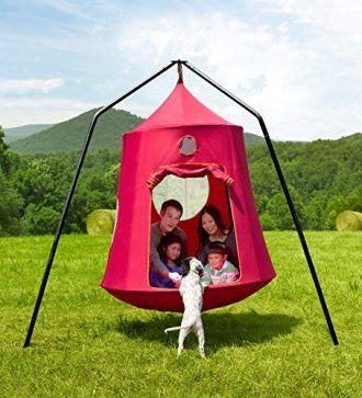 Review Hanging Tent With Stand Hangout Pod By Hearthsong