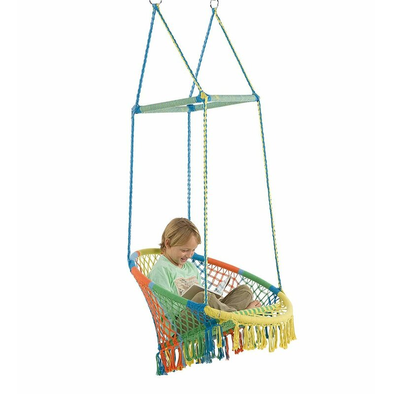 Hammock-Chair-colorfull-with-Woven-Seat-and-Macrame-Knots-for-kids