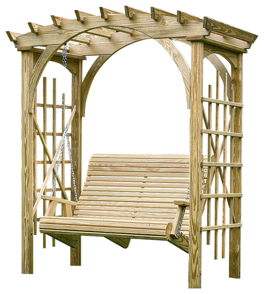 amish- roman-arch-arbor-swing-with- 4-foot-rollback-swing
