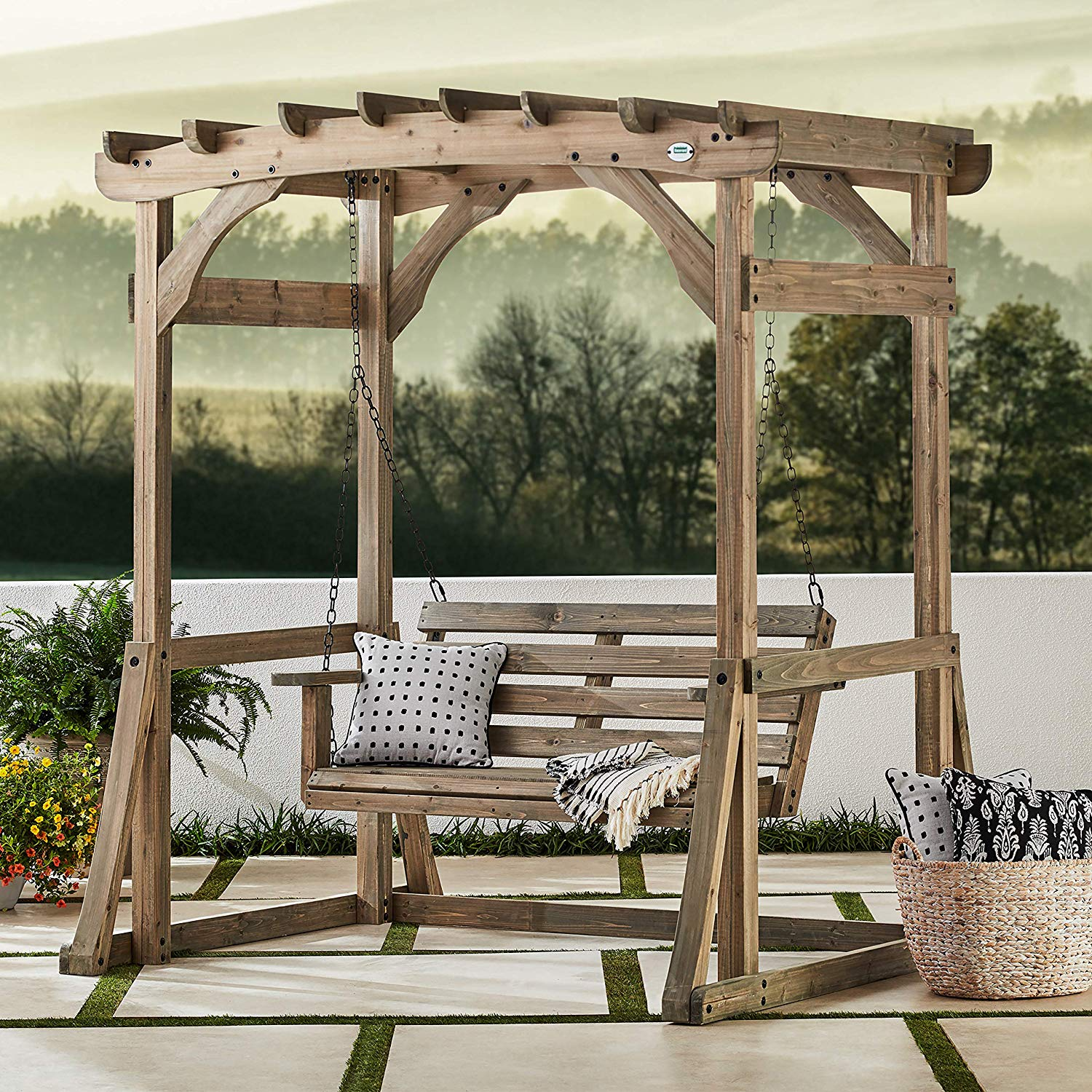 Simple 2 person pergola porch swing with stand