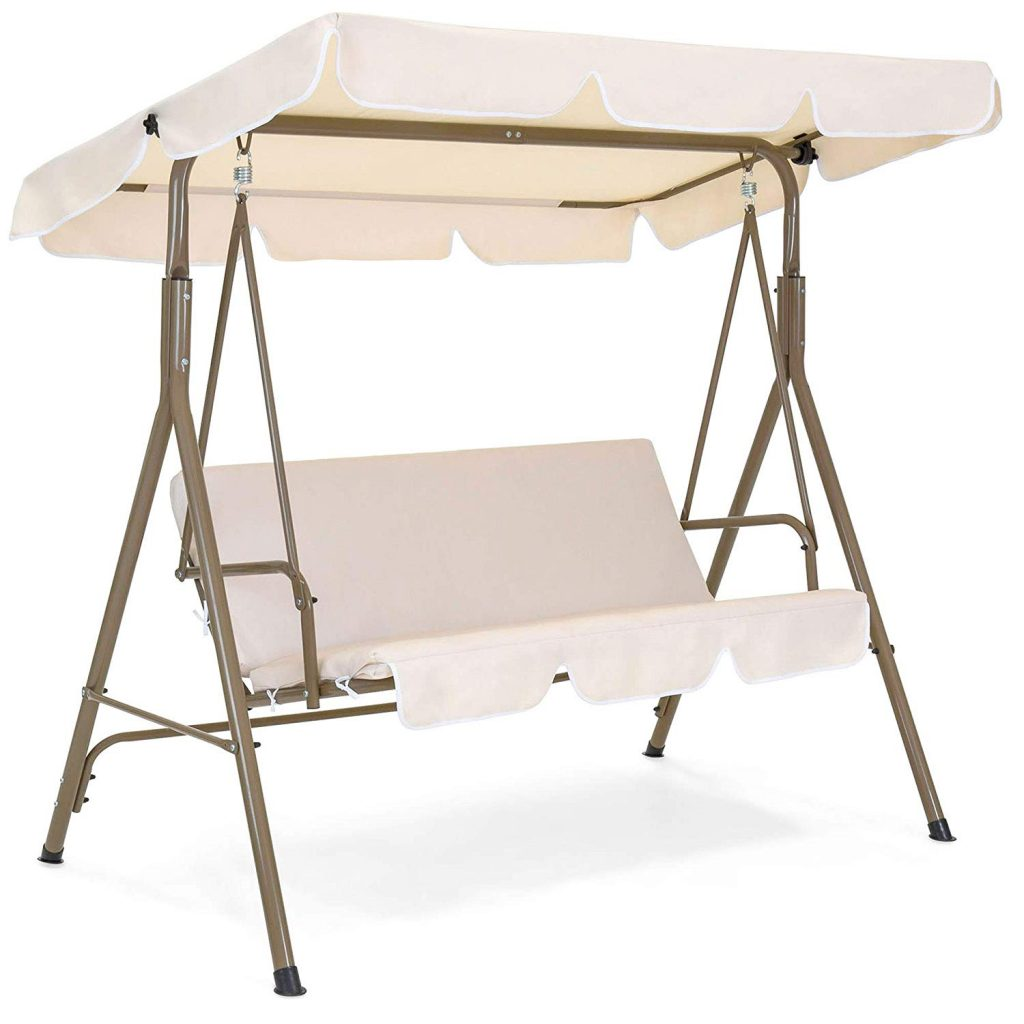 2-person patio swing with canopy and large seat