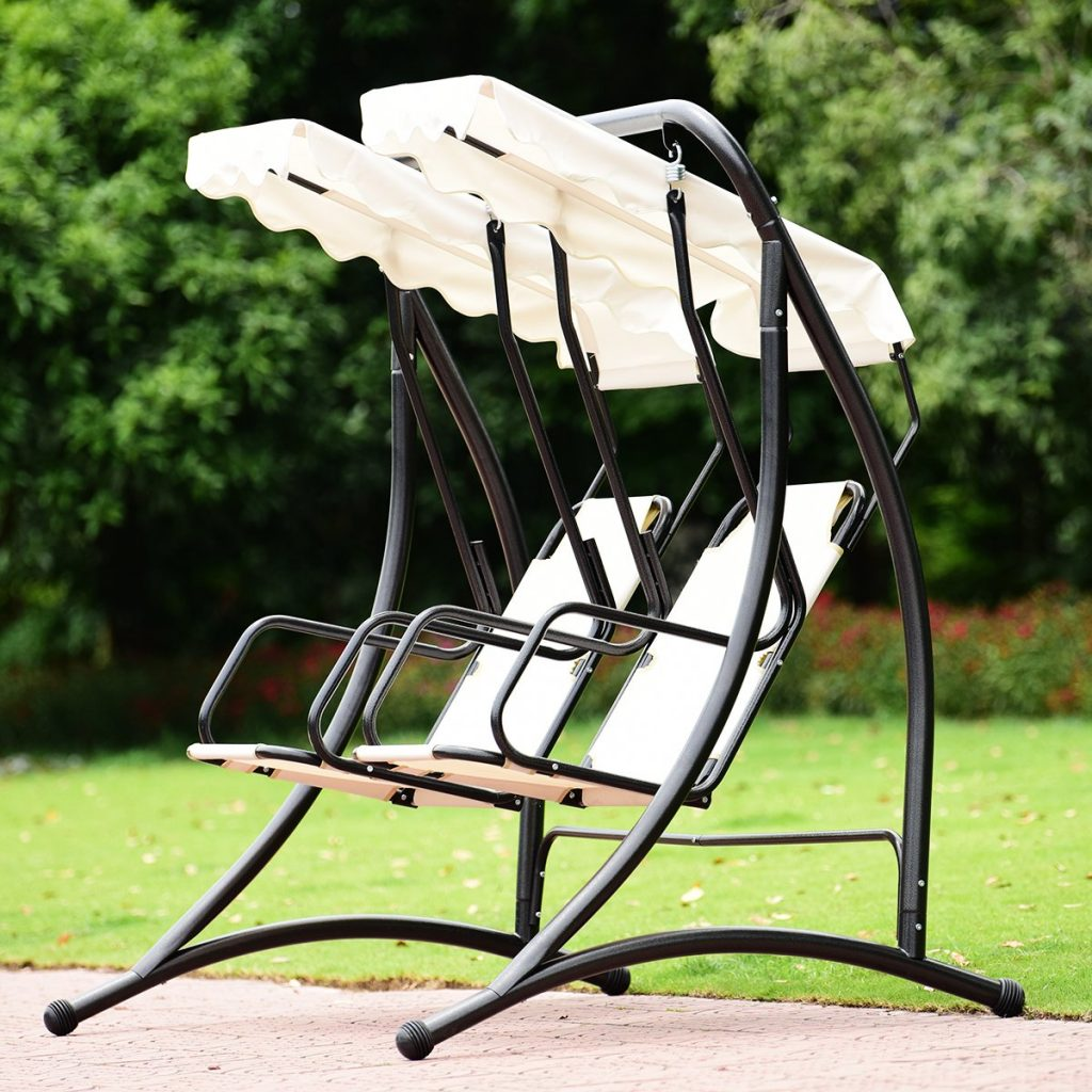 2 person patio swing with separate canopies and seats