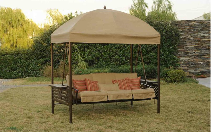 3 person patio swing with canopy and unique steel frame