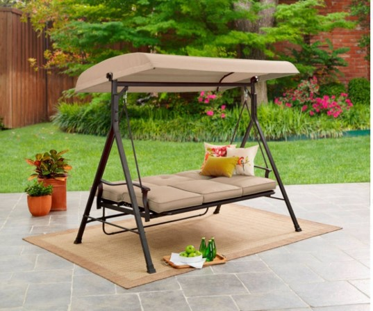 3 person patio swing with canopy in daybed position