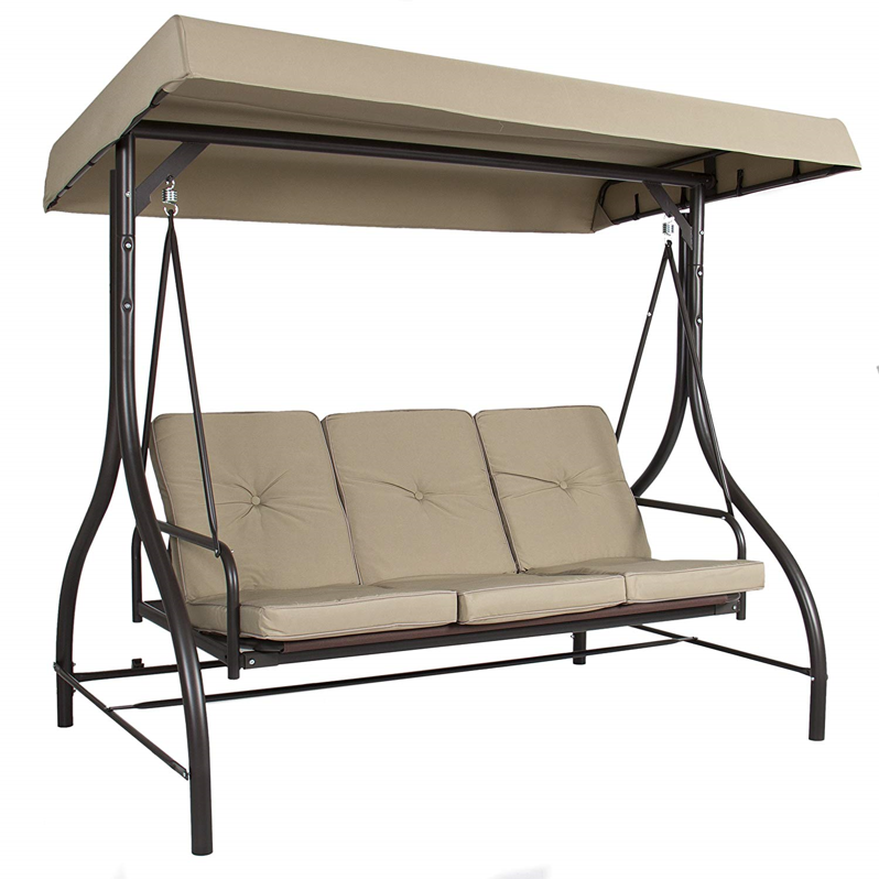 3 person patio swing with tan upholstery