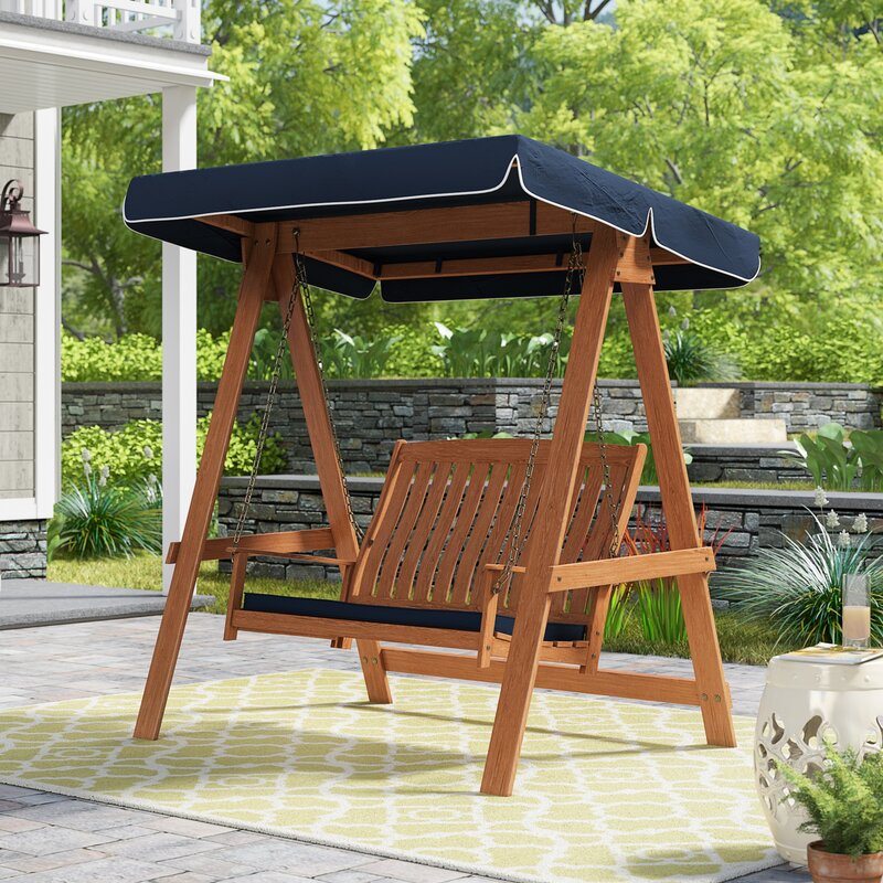 A simple 2 person porch swing with canopy and seat base cushion