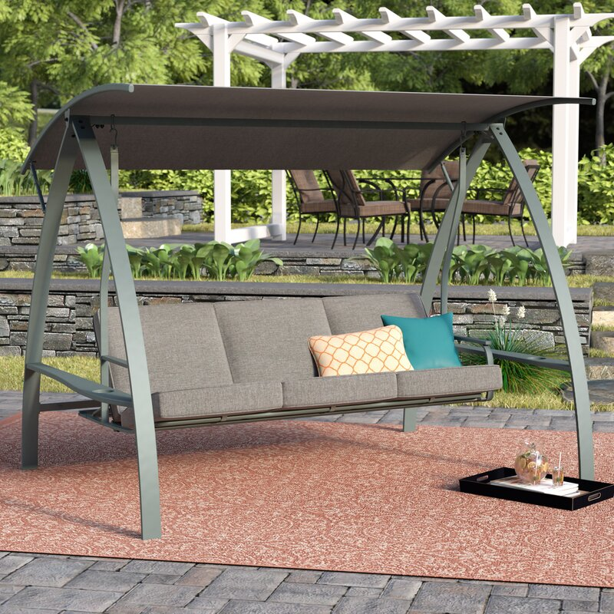 Cushioned 3 person patio swing with canopy and steel frame