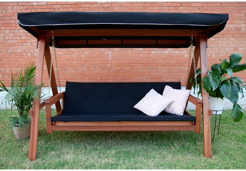 Simple wooden frame patio swing with a single-cushion 3-person swing seat