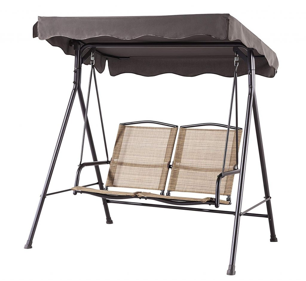 Simple 2 person patio swing with divided seats