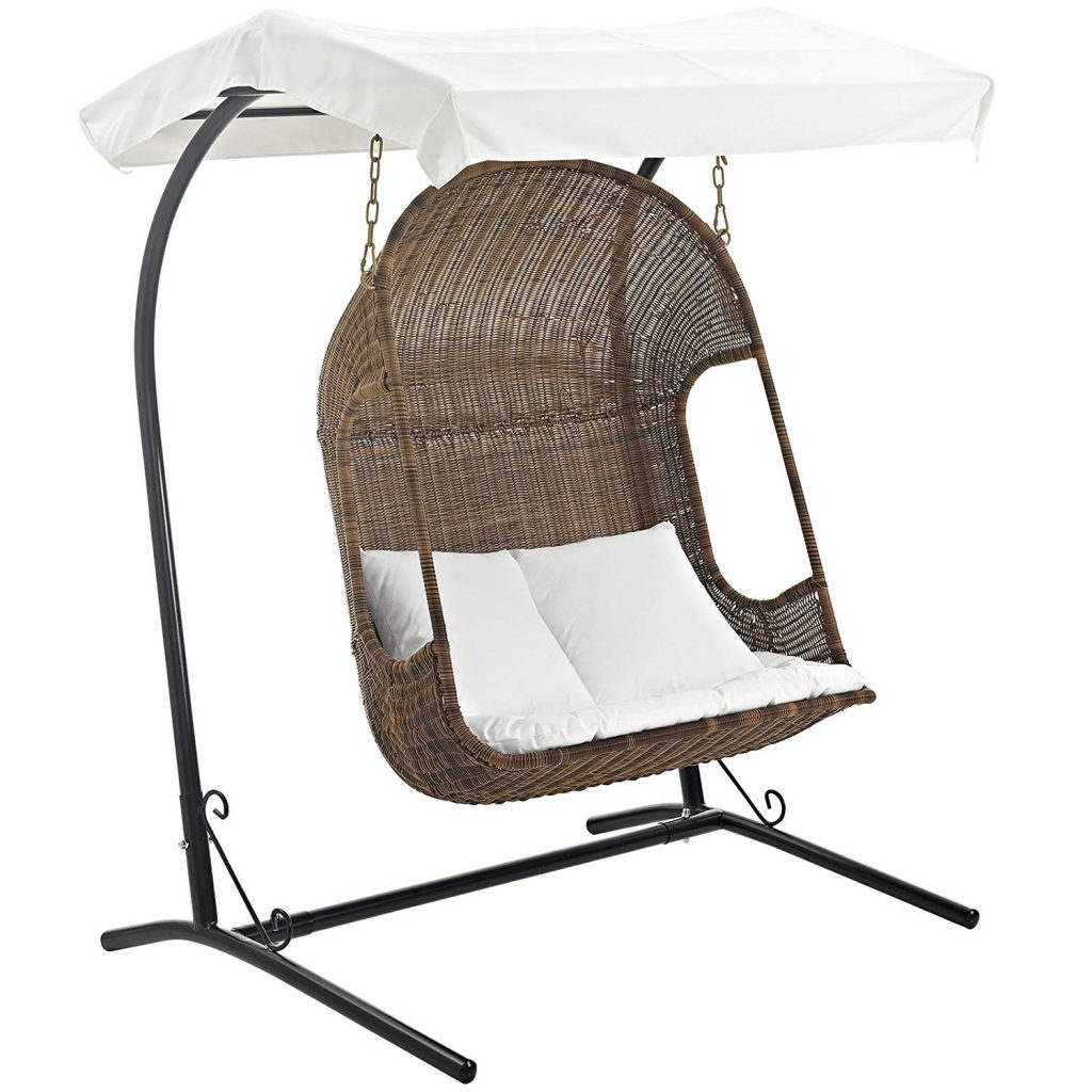 Simple wicker style 2 person patio swing with canopy