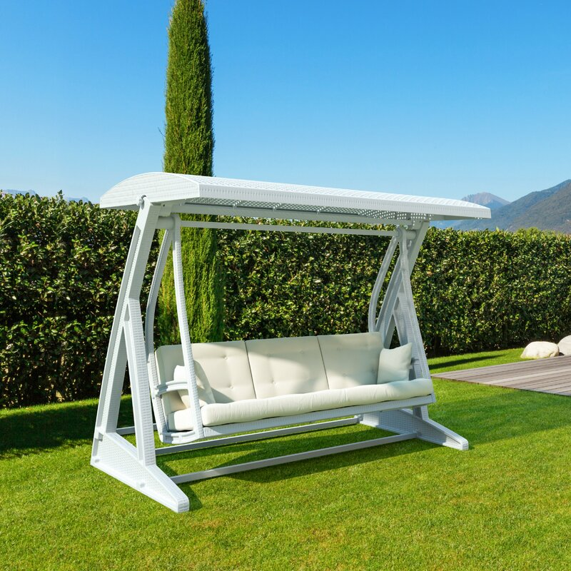 3 person patio swing with steel frame and synthetic material canopy