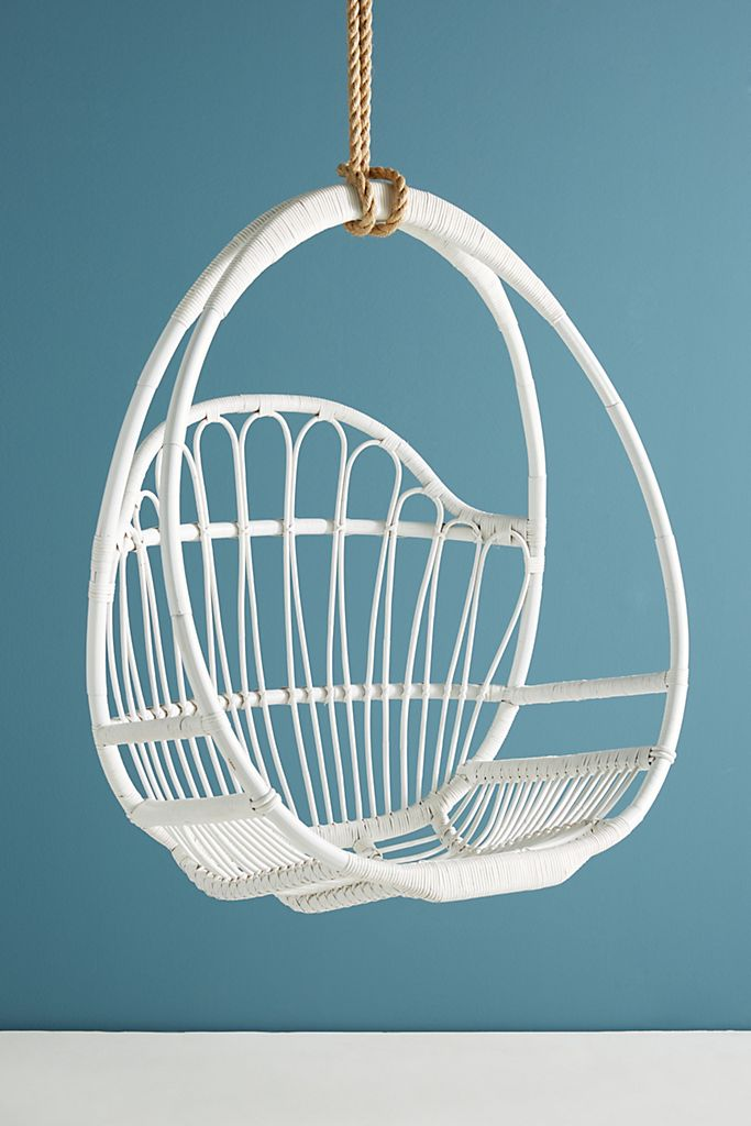 Woven Hanging Chair White Basket Elegant Vintage