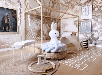 Kids-room-with-kids-indoor-swing-and-DIY-house-frame-bed-House-Tours-Valentina