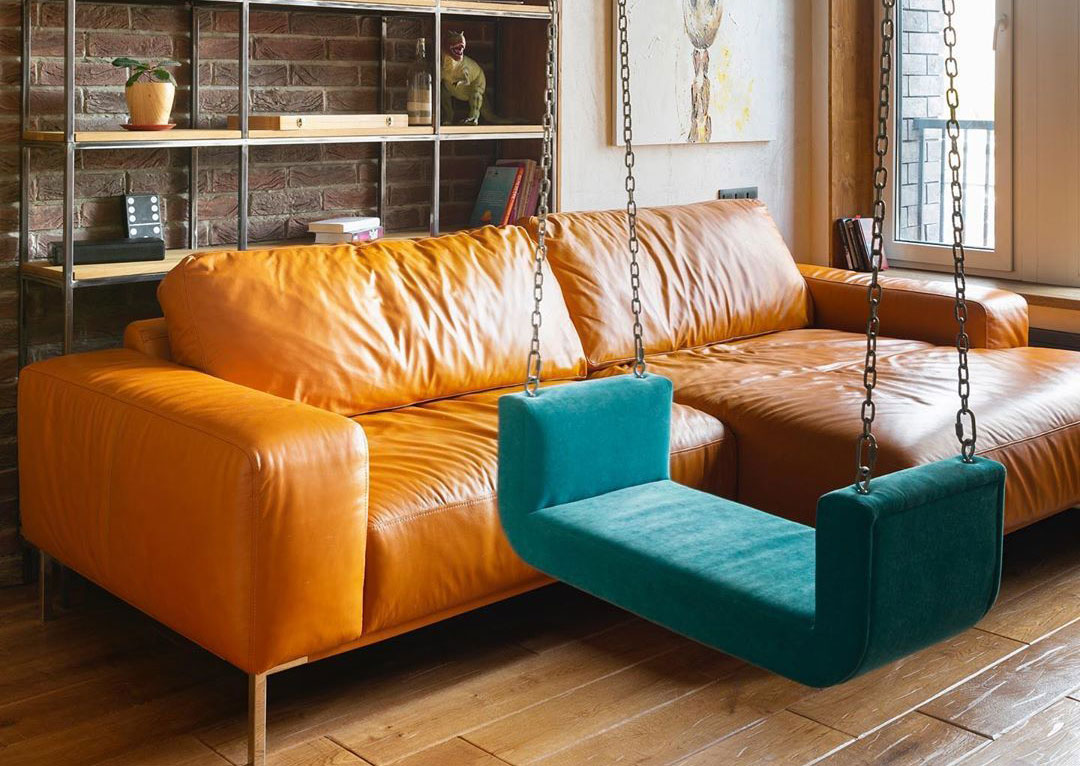 featured-image-yellow-leather-sofa-and-the-bright-blue-indoor-swing-hhanging-from-ceiling