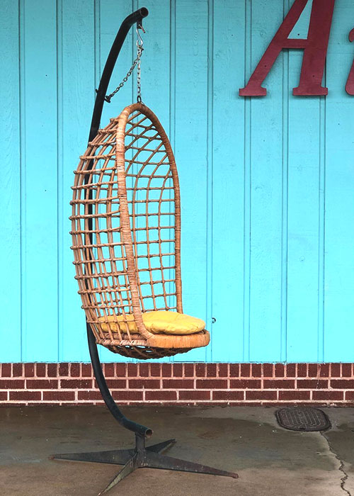vintage-hanging-rattan-chair-with-c-stand-and-yellow-cushion