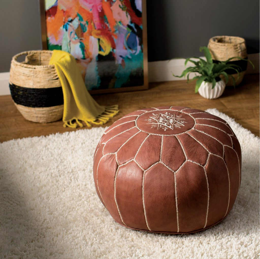 Wide Round Floral Pouf Ottoman looks great in a home yoga studio