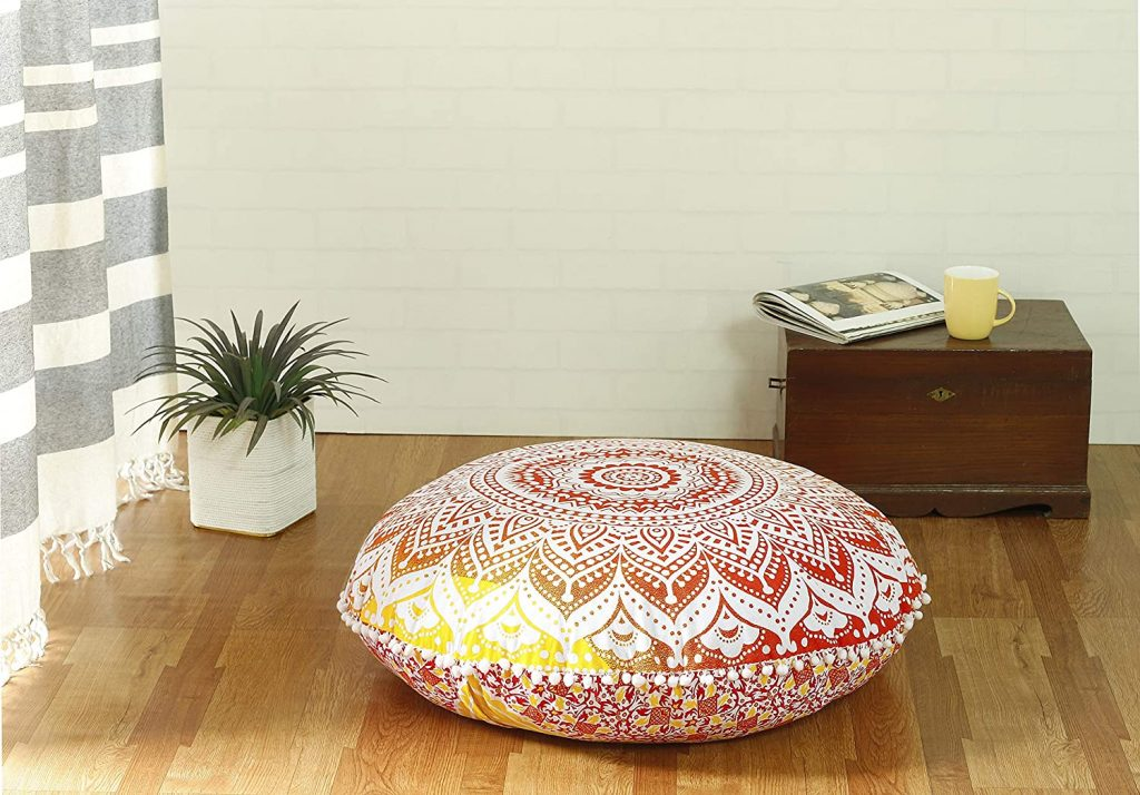 Large Round Hippie Mandala Floor Pillow Cover for Bohemian Yoga Decor