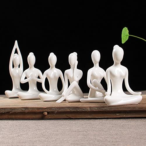 6 Meditation Yoga Pose Statue Figurine Ceramic Yoga Figure Set Decor