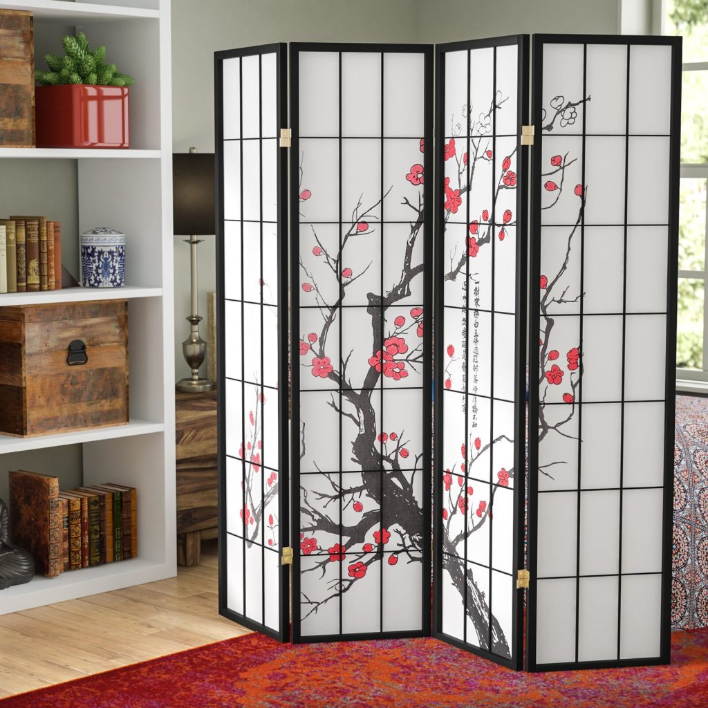 Neagle Japanese Plum Blossom 4 Panel Room Divider or home yoga studio